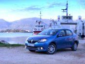 Renault Logan 2014 синего цвета на причале